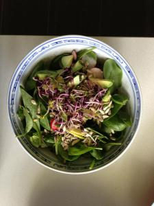 Fresh salad: baby spinach, sprouts, avocado, sunflower seeds, lemon juice & olive oil