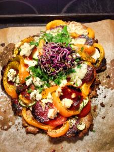 Gluten-free pizza with lightly grilled veggies and feta cheese